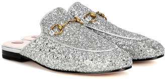 Gucci Princetown glitter-coated leather slippers