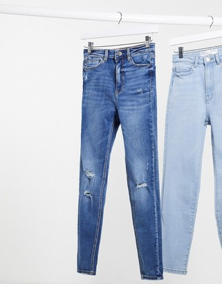 Stradivarius super high waist jeans with rips in medium blue