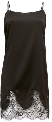 Fleur of England Signature Lace-trimmed Silk-blend Slip Dress - Black