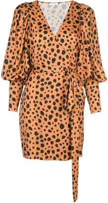 Rhode Resort cheetah print wrap dress