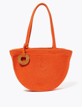 Marks and Spencer Cotton Woven Half Moon Shoulder Bag