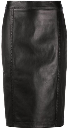 Saint Laurent High-Waisted Leather Pencil Skirt