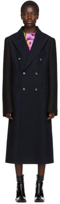 Maison Margiela Navy and Black Wool Mens Coat