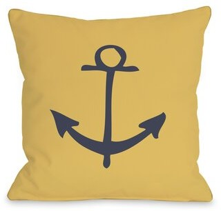 "Vintage Anchor Pillow One Bella Casa Size: 16"" H x 16"" W"