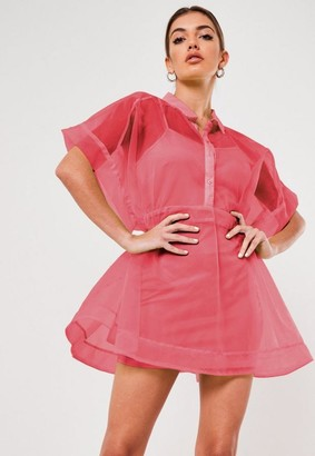 Missguided Coral Organza Skater Shirt Dress