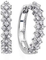 JCPenney FINE JEWELRY 1/2 CT. T.W. Diamond 10K White Gold Double-Row Hoop Earrings