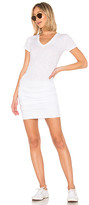 Monrow Shirred Tee Dress in White. - size S (also in XS)