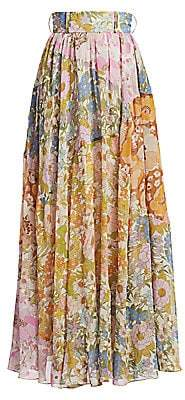 Zimmermann Women's Super 8 Floral A-Line Maxi Skirt