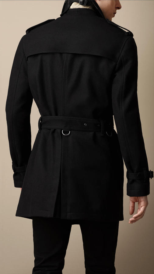 Burberry Mid-Length Wool Cashmere Trench Coat