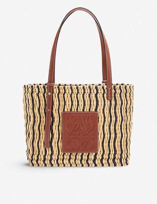 Loewe x Paulas graphic print small square woven reed tote bag