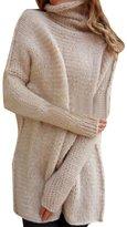 YOUJIA Womens Long Knitted Jumper Turtleneck Long Sleeve Sweater (, L)