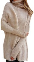 YOUJIA Womens Long Knitted Jumper Turtleneck Long Sleeve Sweater (, XL)