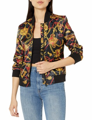 True Religion Women's Gold Loong Sleeve Satin Jacket
