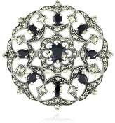 Esse Marcasite Sterling Silver Black Spinel Fancy Flower and Garlands Round Marcasite Brooch 3.5cm