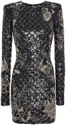 Balmain Embellished Sequined Stretch-tulle Mini Dress