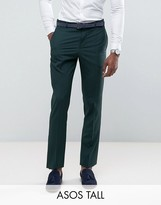 Asos Tall Slim Suit Trousers In Green