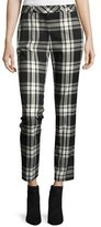 Trina Turk Aubree 2 Cropped Plaid Pants, Black/Silver