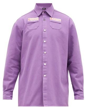 Raf Simons Logo-embroidered Denim Shirt - Purple