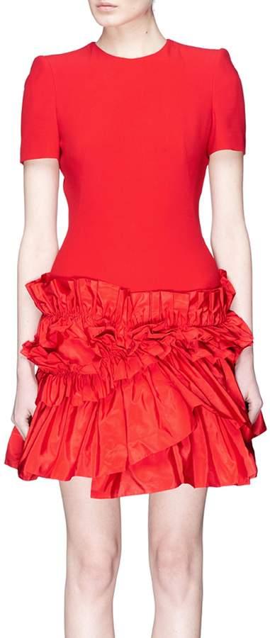 Alexander McQueen Ruffle faille skirt crepe dress