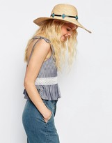 Asos Oversized Natural Floppy Straw Hat With Turq Stone Band