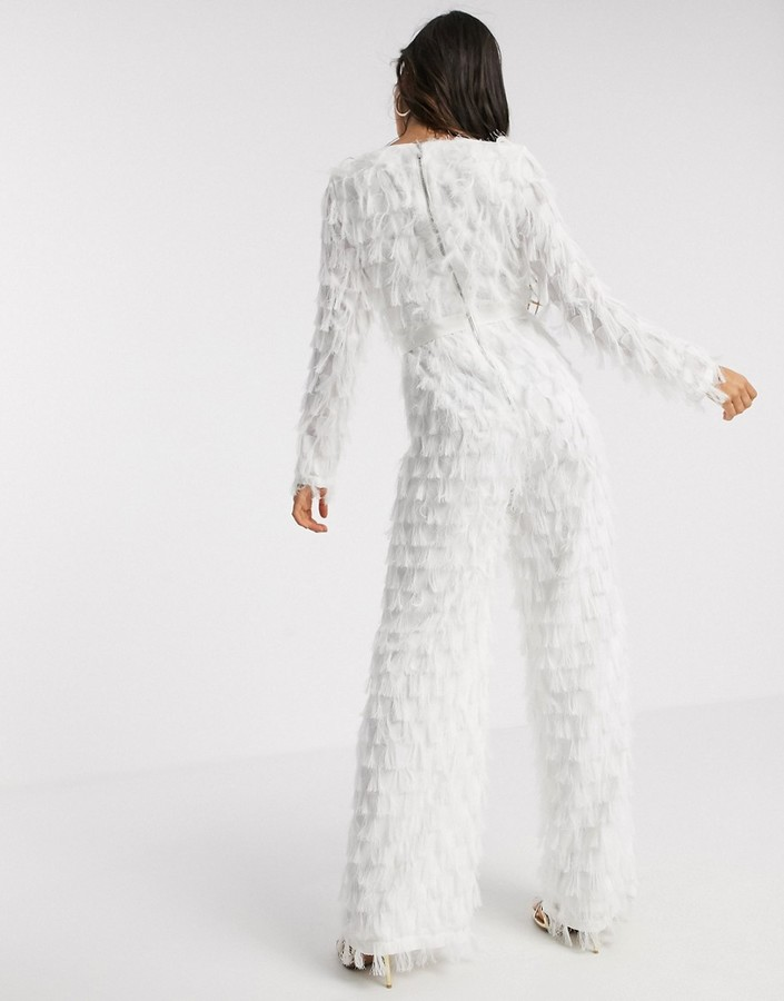Thumbnail for your product : Forever U fringe plunge jumpsuit in white