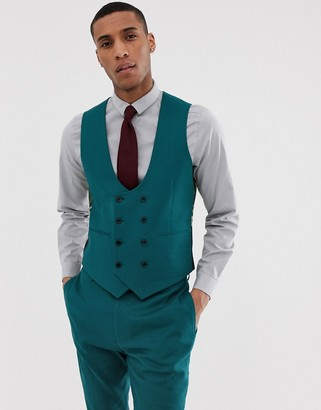 ASOS DESIGN wedding super skinny suit vest in teal linen