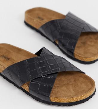 Asos Design DESIGN Wide Fit Flare cross strap sliders-Black