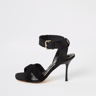 River Island Womens Black cross strap high heeled sandal