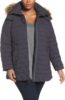 Andrew Marc Plus Size Women's Down Jacket With Faux Fur Trim Hood