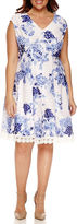 Studio 1 Sleeveless Lace Fit & Flare Dress-Plus