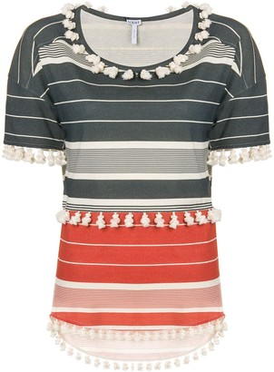 Loewe striped pompom T-shirt