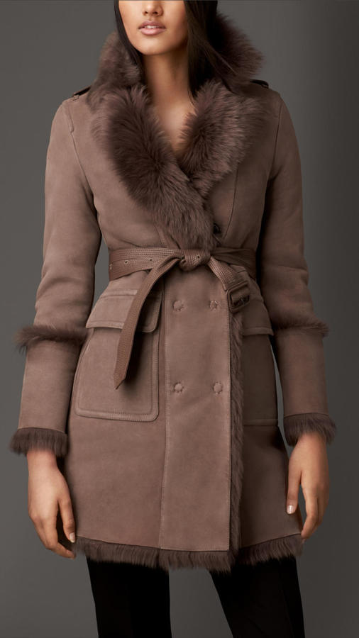 Burberry Revere Collar Shearling Coat