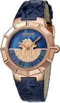 Roberto Cavalli ROTATING DIAL Women's Swiss-Quartz Dark Blue Leather Strap Diamond Watch