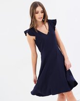 Wallis Ruffle Cap Sleeve Fit-and-Flare Dress