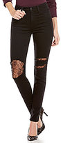 Joe's Jeans Abrasion Lace Backed High Rise Charlie Skinny Jeans