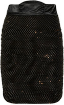 Balmain Pierre Draped studded stretch-jersey skirt