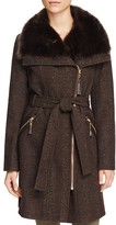 Via Spiga Belted Asymmetric Front Tweed Coat