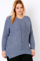 Yours Clothing Blue Marl Cosy Knit Jumper With V-Neck