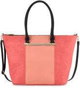 Neiman Marcus Sybil Bar Colorblock Tote Bag, Blush/Coral