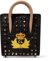 Christian Louboutin Paloma Nano Embellished Calf Hair And Leather Tote - Black