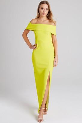 Girls On Film Alva Neon Lime Bardot Maxi Dress