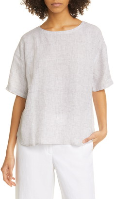 Eileen Fisher Jewel Neck Elbow Sleeve Boxy Organic Linen Top