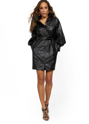 New York & Co. Statement Sleeve Faux Leather Dress