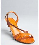 Sergio Rossi orange, russet and gold contoured slingback sandals