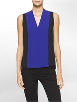 Calvin Klein Colorblock V-Neck Sleeveless Blouse