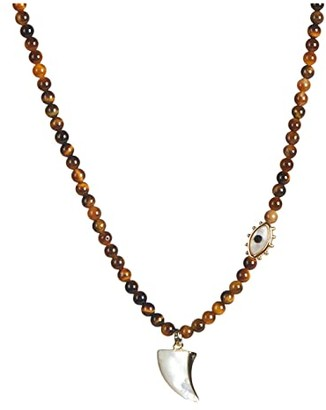 Rebecca Minkoff Semi Precious Charm Necklace w/ Shark Tooth (Gold/Brown) Necklace