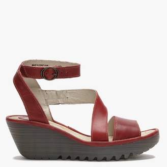Fly London Yesk Red Leather Wedge Sandals