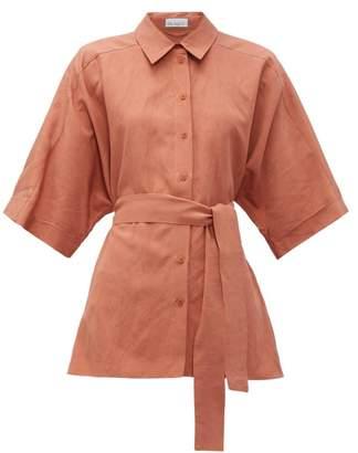 Raey Dolman-sleeve Silk-blend Shirt - Womens - Bronze