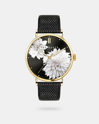 Ted Baker Clove Printed Leather Strap Watch