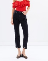 Miss Selfridge Black Eyelet Straight Leg Jeans